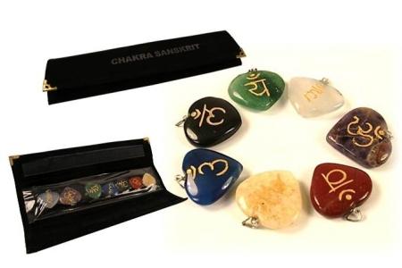 Sanskrit Symbol-Anhänger 7 Chakra´s   - SET